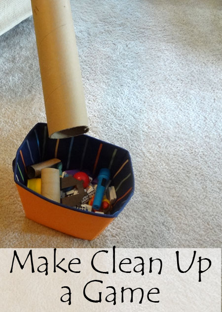 Use a Cardboard Tube to Make Clean-up a Game