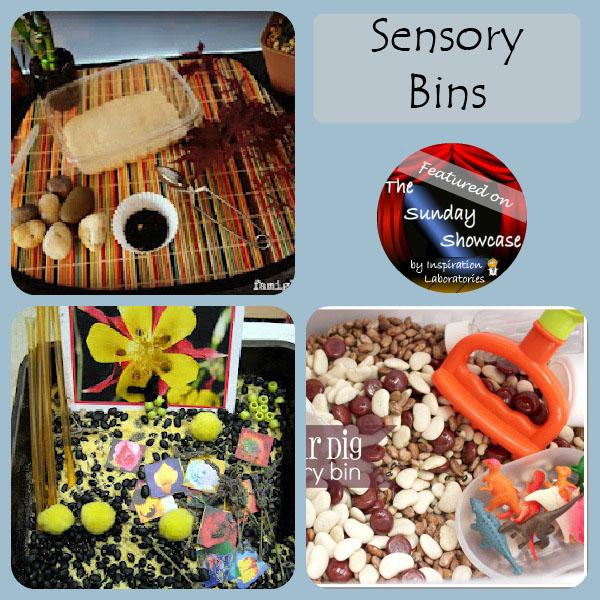 Sensory bins featured at the Sunday Showcase