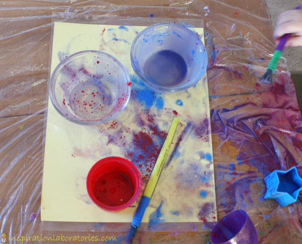 Baking Soda Painting - a fun mix of science and process art ideal for preschoolers and toddlers to experiment and explore with.
