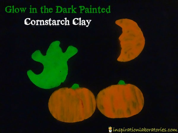glow in the dark painted cornstarch clay