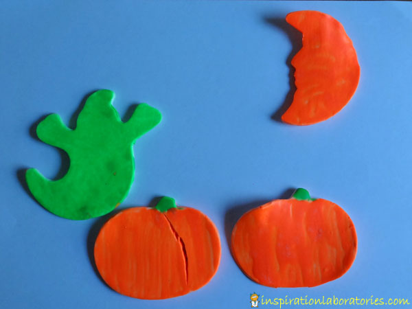 glow in the dark painted Halloween shapes