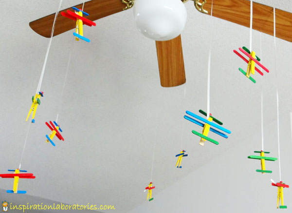 flying airplane clothespins