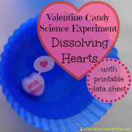 Valentine Candy Science: Dissolving Hearts Experiment {with Printable}