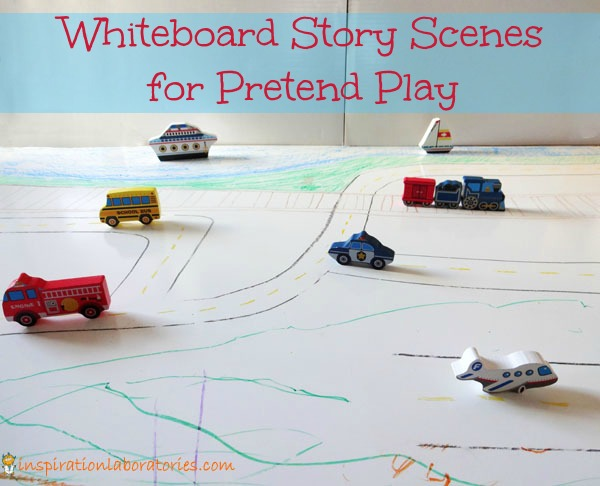 Whiteboard Story Scenes for Pretend Play