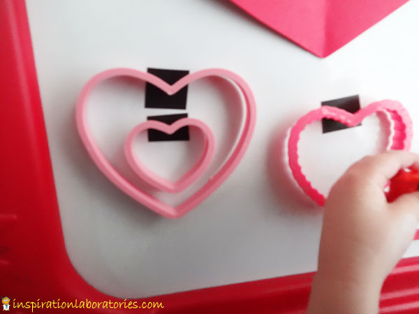 Valentine Hearts on the Magnet Board