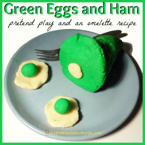Green Eggs and Ham pretend play, an omelette recipe, and more Dr. Seuss ideas