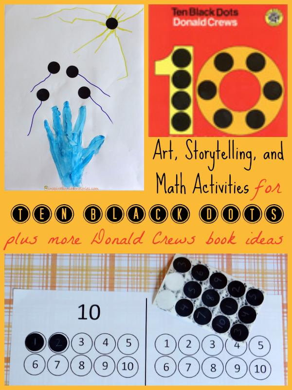 Art, Stortelling, and Math Activities for Ten Black Dots by Donald Crews {part of the Virtual Book Club for Kids}