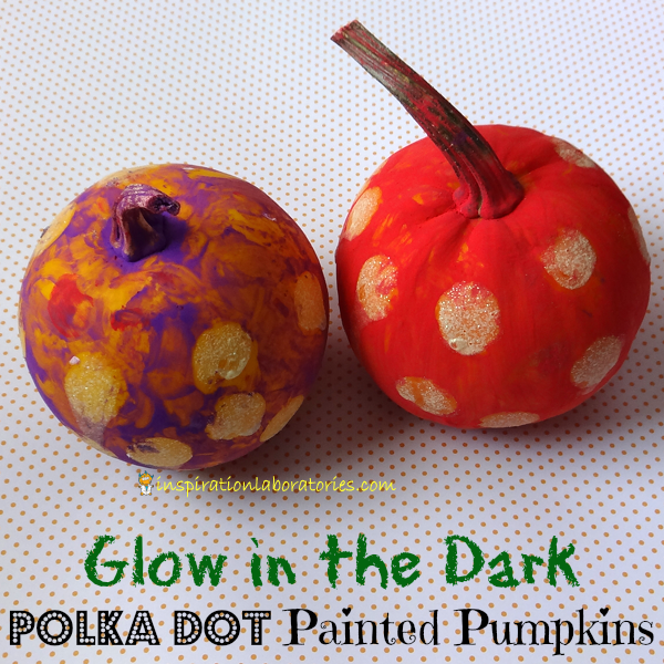 Glow in the Dark Polka Dot Painted Pumpkins