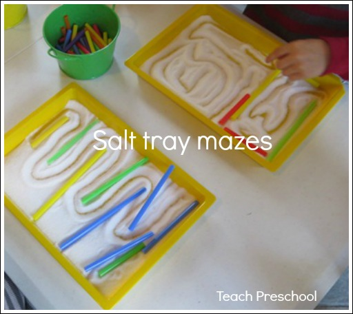 Salt Tray Mazes by Teach Preschool