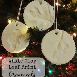 White Clay Leaf Print Ornaments
