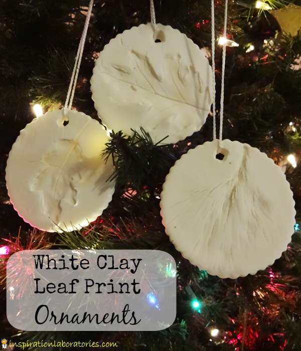 White Clay Leaf Print Ornaments - Day 8 of our Christmas Science Advent Calendar