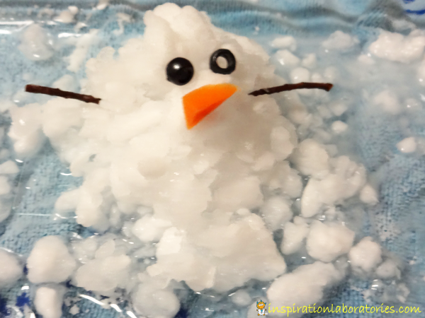 Fizzy Melting Snowman made with crushed ice