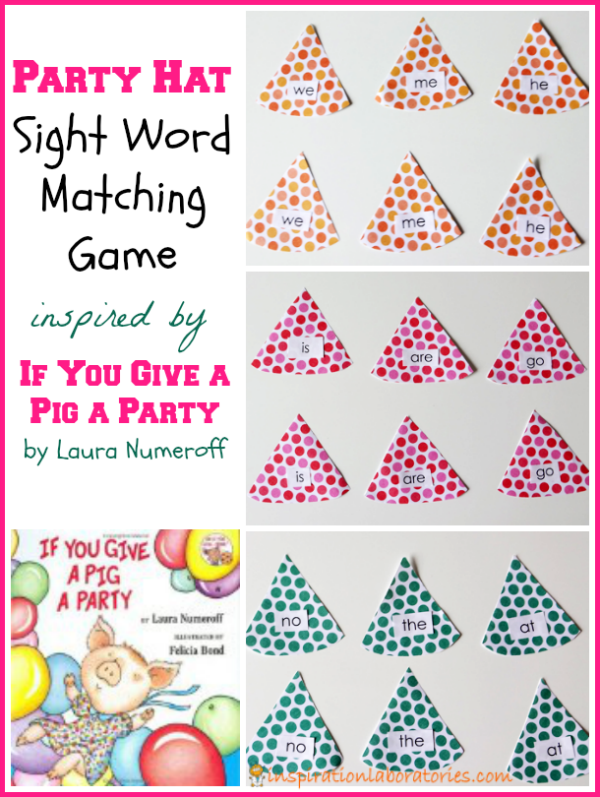 Party Hat Sight Word Matching Game {Laura Numeroff Virtual Book ...