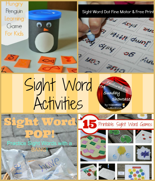 Sight Word Activities Featured on the Sunday Showcase at Inspiration Laboratories