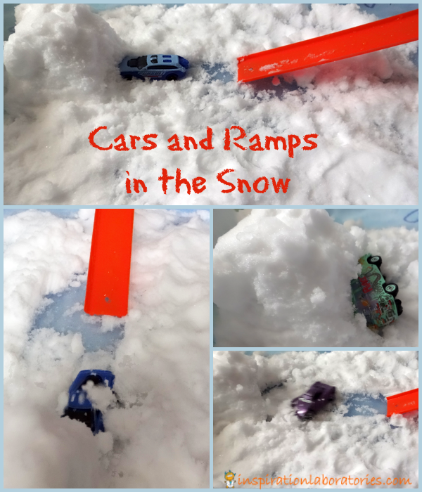 Cars and Ramps in the Snow - a fun science exploration!