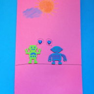 Robots and Glitter Valentine's Day Card