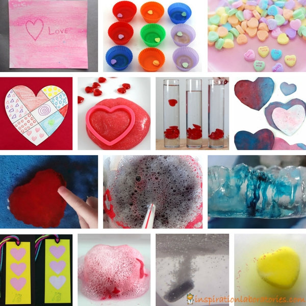 collage of valentine science experiments
