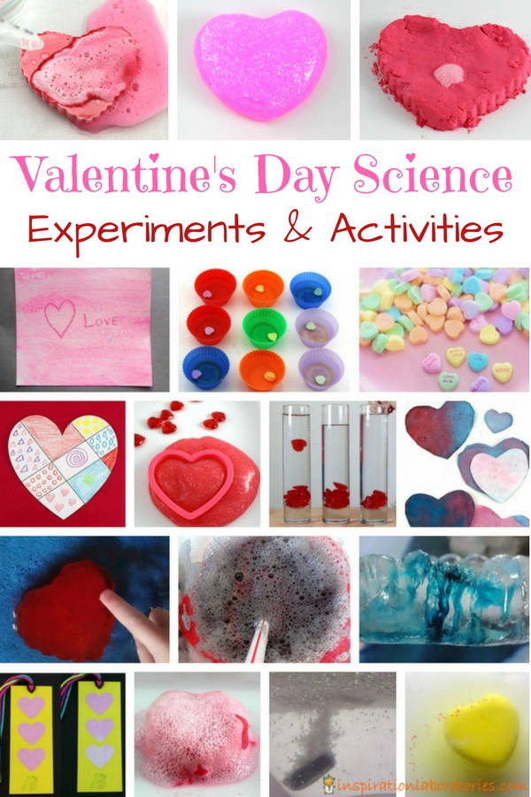 collage of valentine science experiments with text overlay Valentine's Day Science Experiment & Activities
