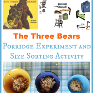 The Three Bears Porridge Experiment & Size Sorting {Paul Galdone Virtual Book Club for Kids}