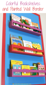 Colorful Bookshelves and Painted Wall Border