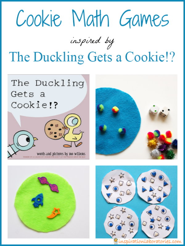 Cookie Math Games Inspired by The Duckling Gets a Cookie!? by Mo Willems - part of the Virtual Book Club for Kids