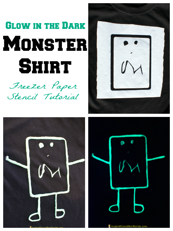 Glow in the Dark Monster Shirt Freezer Paper Stencil Tutorial