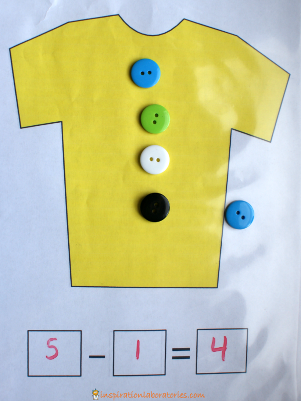 Button subtraction with Pete the Cat - 1 of 3 ideas