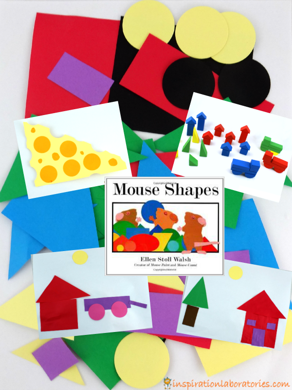Shape collages and block scenes inspired by Mouse Shapes by Ellen Stoll Walsh - part of the Virtual Book Club for Kids