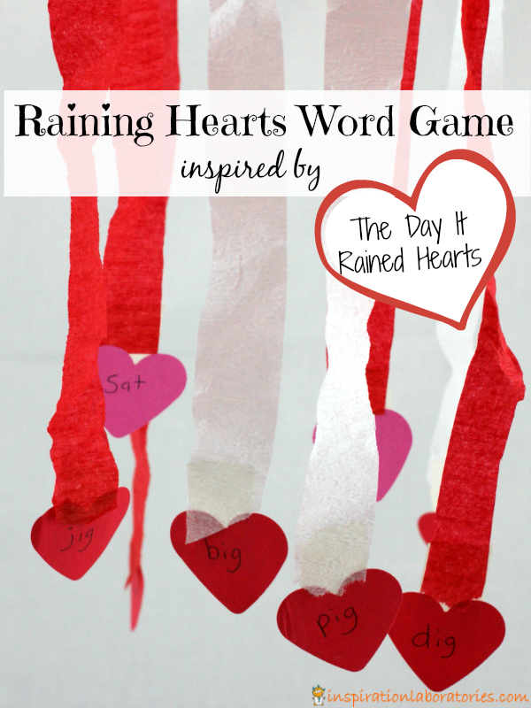 Raining Hearts Word Game inspire by The Day It Rained Hearts by Felicia Bond