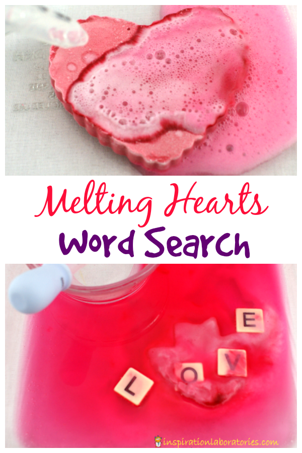 Melting Hearts Word Search - combine a fizzy science activity with a reading game.
