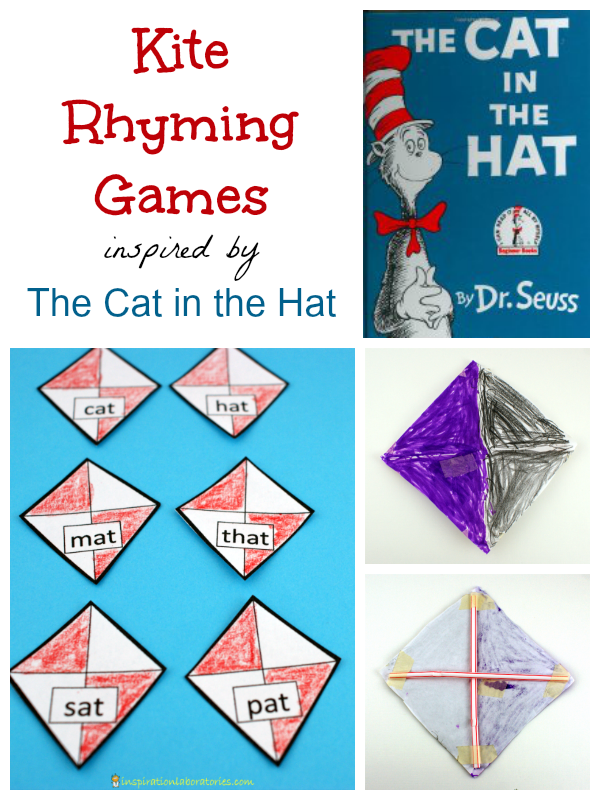 Kite Rhyming Games inspired by The Cat in the Hat - part of the Virtual Book Club for Kids