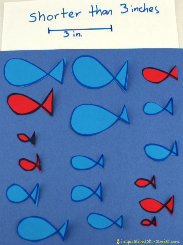 One Fish Two Fish Red Fish Blue Fish Size Sorting - a fun way to practice measuring and sorting by size