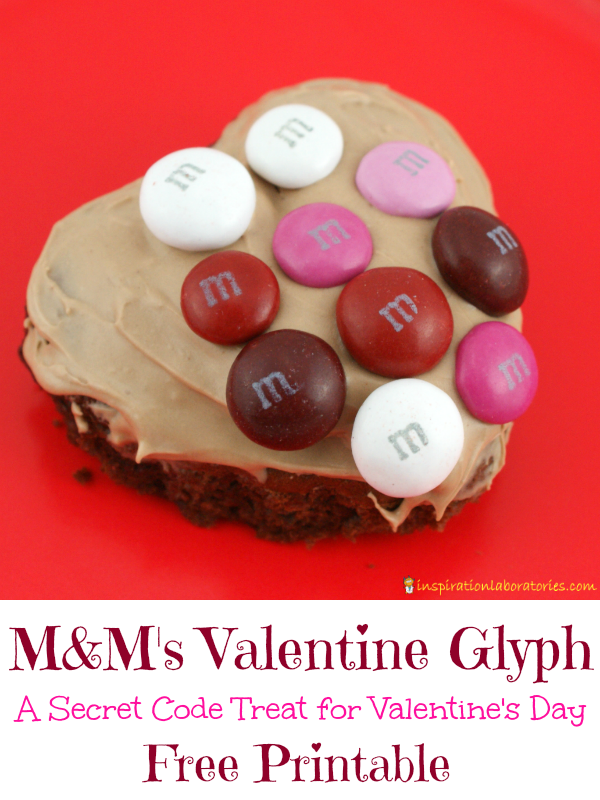 M&M's Valentine Glyph - Download the free printable to make a secret code treat for Valentine's Day. Sponsored by M&M's.