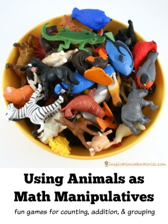 Using Animals as Math Manipulatives - fun games for counting, addition, and grouping
