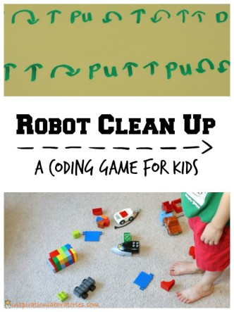 Robot Clean Up Game - a fun way to introduce coding for kids
