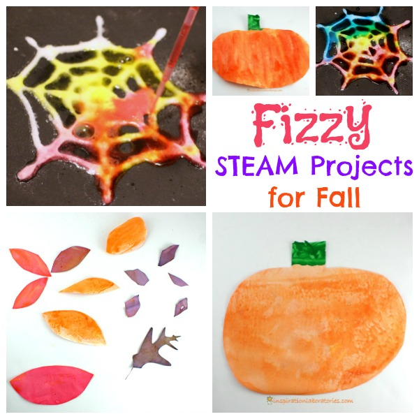 These Fizzy STEAM projects are perfect fall. They combine art and science for a great autumn STEAM activity.
