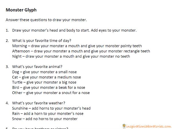 monster glyph directions