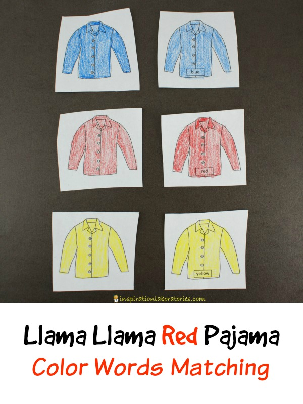 Pajama Color Word Matching