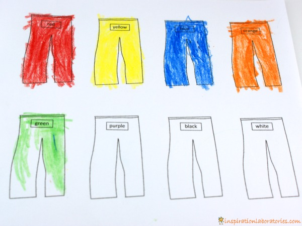 pajama color words - Matching Colors With Red