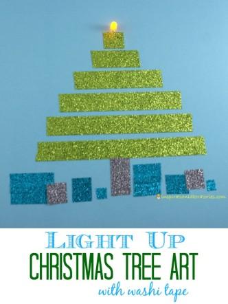 Light Up Christmas Tree Art with Washi Tape sponsored by Scotch