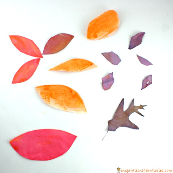 Baking soda and vinegar painted leaves are a fun way to combine science and art!