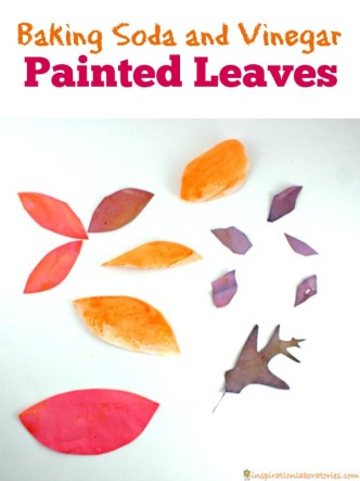 Baking soda and vinegar painted leaves are a fun way to combine science art!