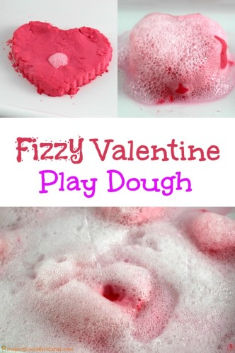 Fizzy Valentine Play Dough - a soft and squishy dough that fizzes and bubbles when you add vinegar.