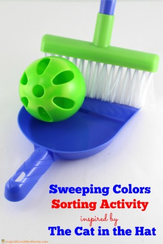 Sweep up the colors in this fun color sorting activity for toddlers. Part of the Virtual Book Club for Kids featuring The Cat in the Hat.