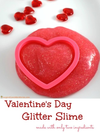 Valentine's Day Glitter Slime - made with only two ingredients!