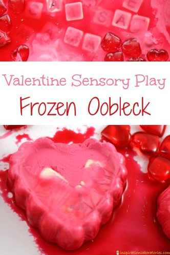 Try this valentine sensory play idea with frozen oobleck.