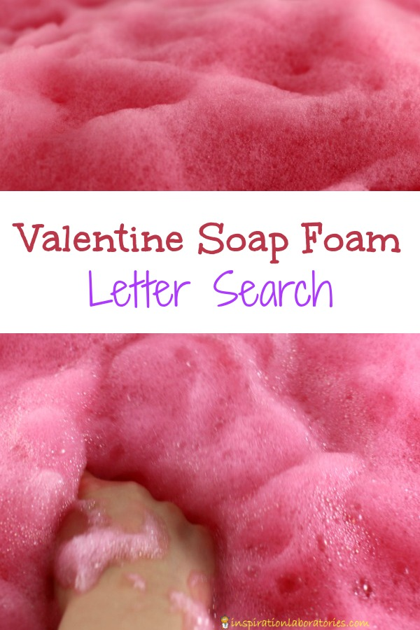 Search for letters to make words in our bubbly valentine soap foam!