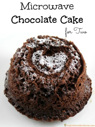 This microwave chocolate cake for two is a quick dessert perfect for date night or Valentine's Day.