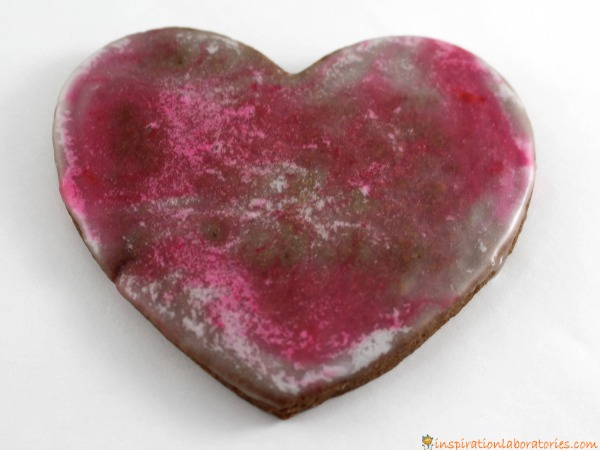 Valentine brownie cookies decorated with icing.