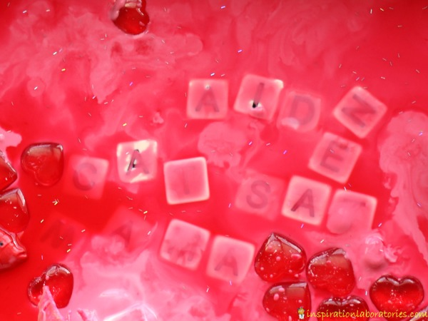 Valentine Frozen Oobleck with Letters